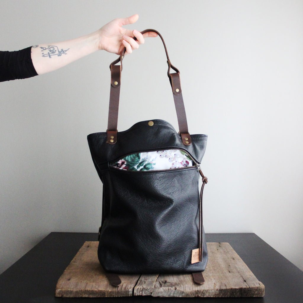 Convertible Backpack: Black Leather No. 46