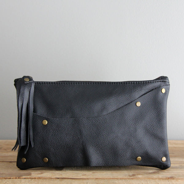 Leather Clutch: Black