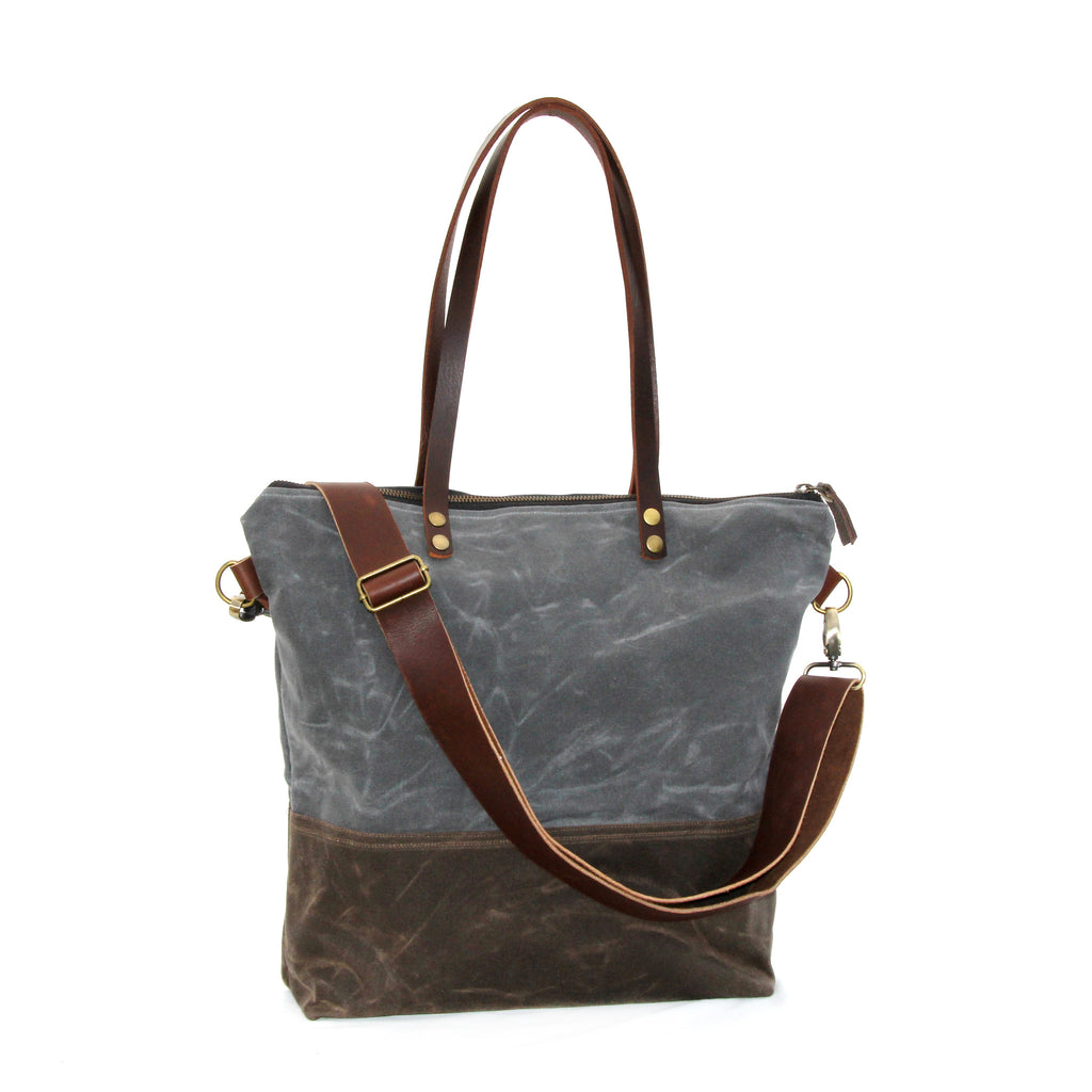 Waxed Canvas Tote in Charcoal and Brown