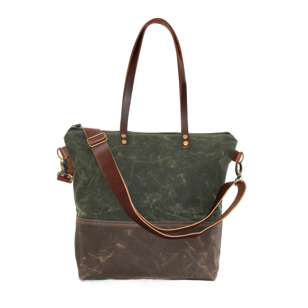 Waxed Canvas Tote Olive and Brown