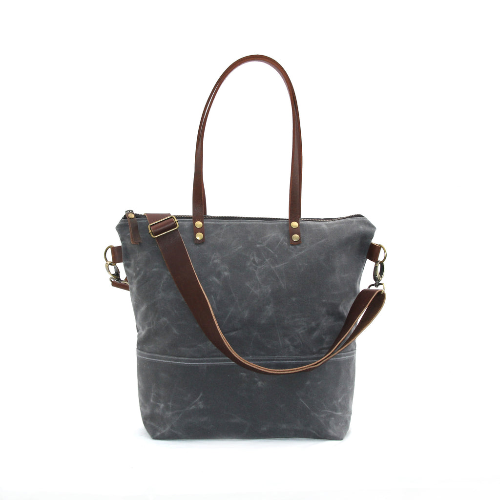 Waxed Canvas Tote in Charcoal