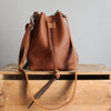 Leather Bucket Bag: Cognac