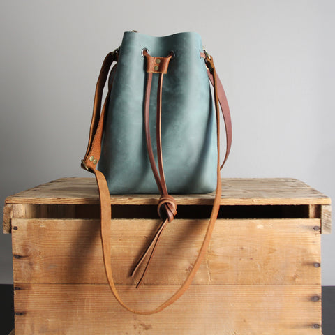 Leather Bucket Bag: Soft Teal