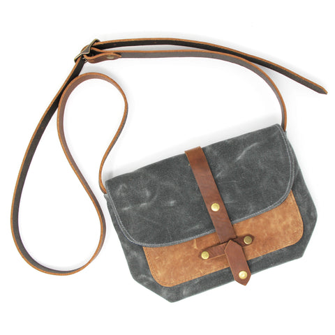 Waxed Canvas Bag with Leather Pocket in Charcoal/Tan