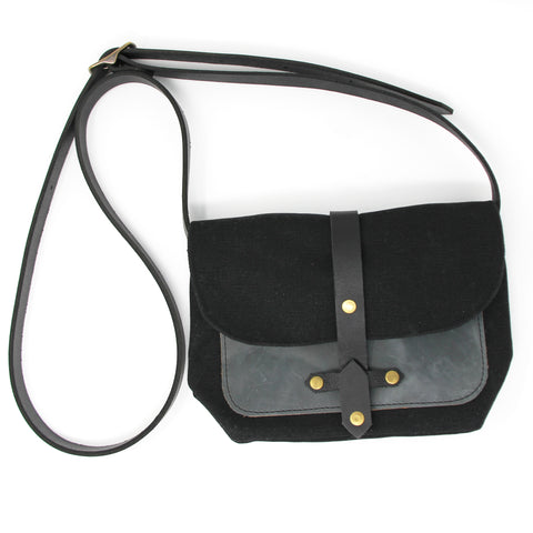 Waxed Canvas Bag with Leather Pocket in Black/Slate