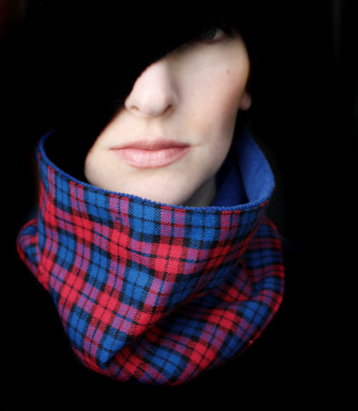 Cowl Scarf: Blue and Red Plaid