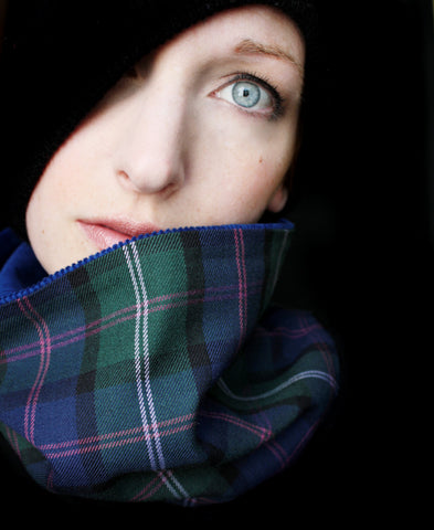 Cowl Scarf: Green and Blue Tartan