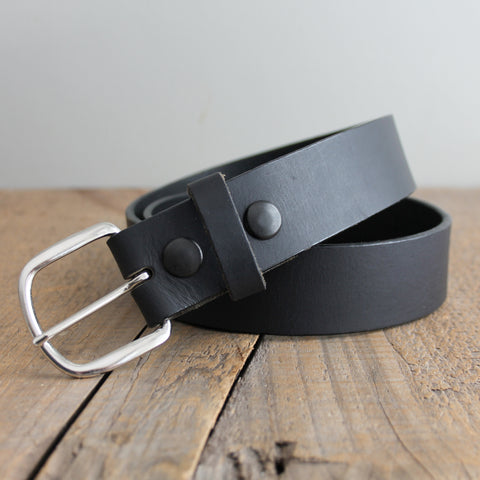 Leather Snap Belt: Black