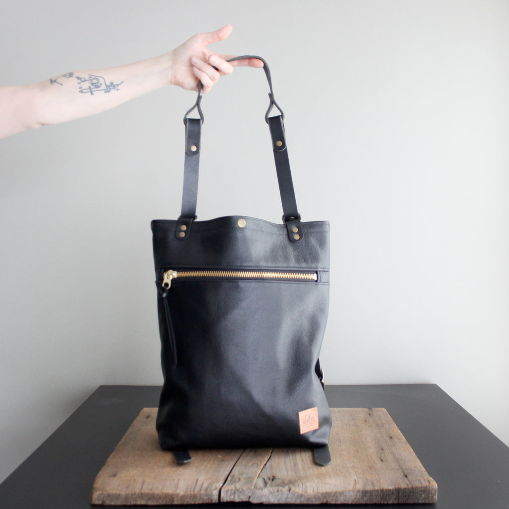 Convertible Backpack: Black Leather No. 54