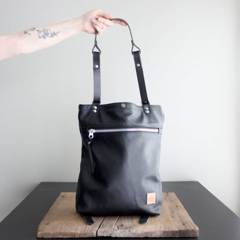 Convertible Backpack: Black Leather No. 52 with Libs Elliott Lining
