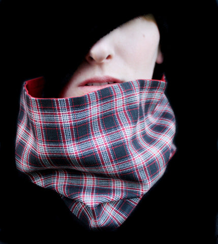 Cowl Scarf: Black, Red, and White