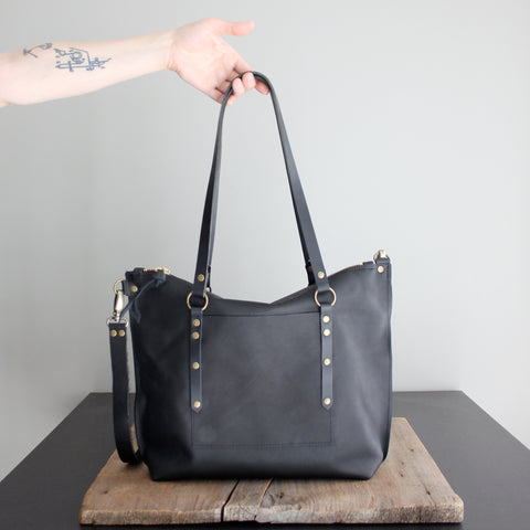 Leighton Tote: Black and Brass