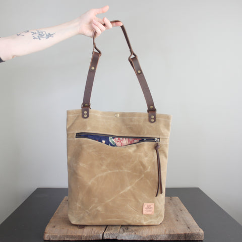 Convertible Backpack: Flax Waxed Canvas No. 55