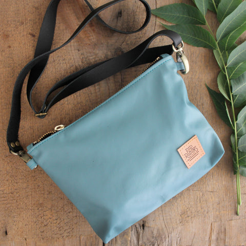 Suraya Leather Bag: Teal Blue with Black Leather Strap