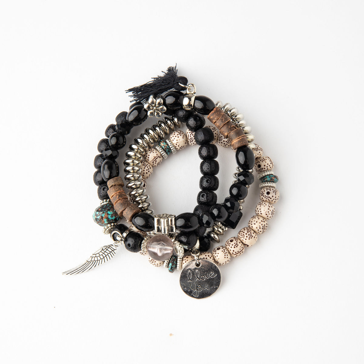 Black Boho Stacked Charm Bracelets