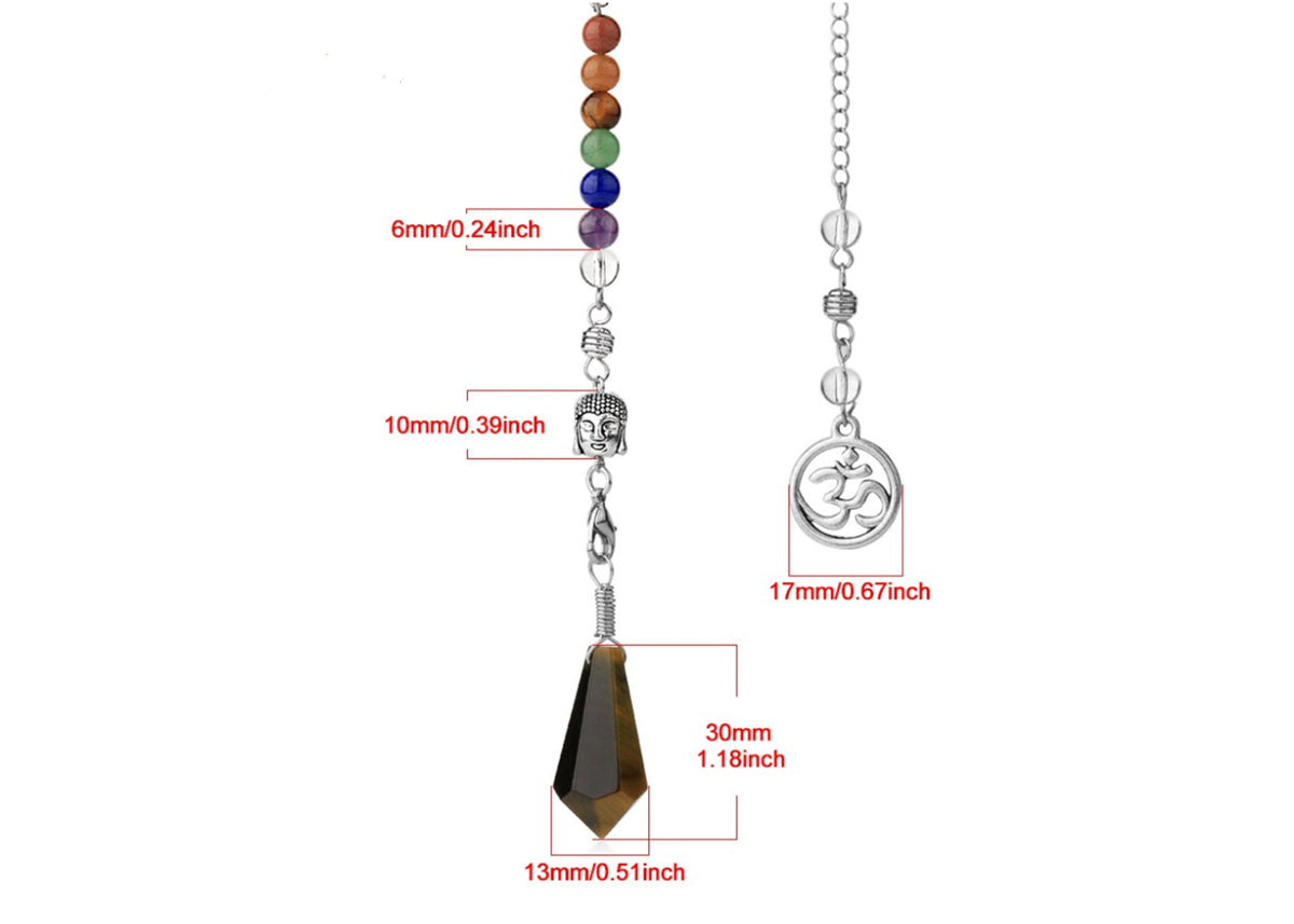 Tiger Eye OM Buddha Head Pendulum