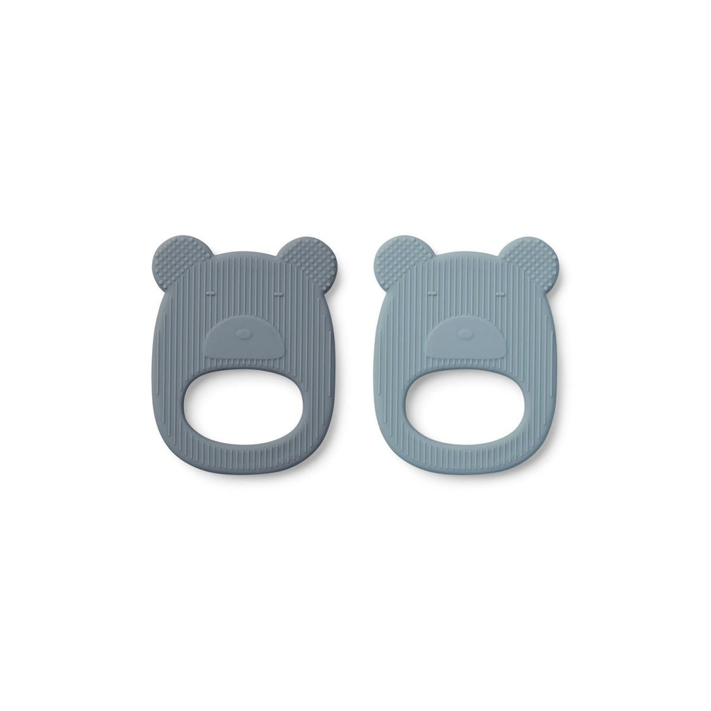 Geo teether (2 pack) - Mr. Bear blue mix