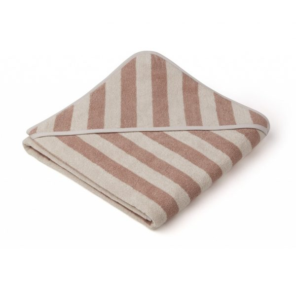 Louie Hooded towel - Y/D stripe Rose/Sandy