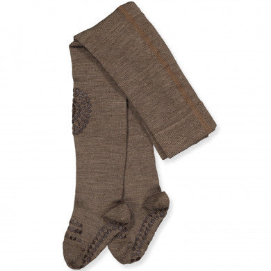GobabyGo non-slip tights WOOL - Brown melange