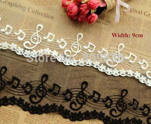 High grade Trimming lace Musical notes lace Embroidered laces for scrapbooking Garment accessories(ss-760-318)