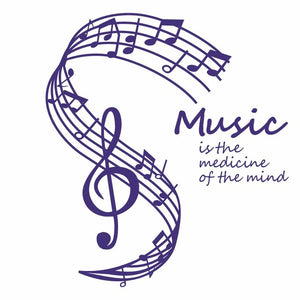 Music Is The Medicine Of The Mind Wall Stickers Musical Notes Home Decor Living Room Wall Decals