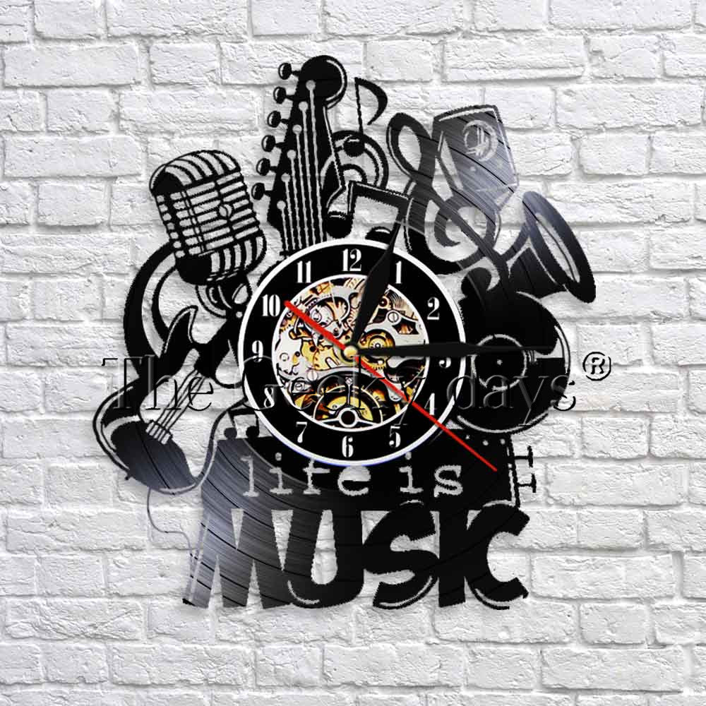 1Piece Life Is Music Vintage Vinyl Record Wall Clock With Led Light Modern Home Decor Great Gift Idea