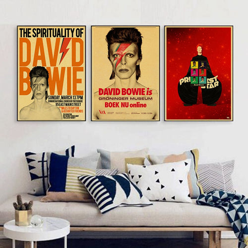 Vintage home decoration David Bowie rock music poster comic retro kraft paper sticker printed draw wall hanging picture Photos