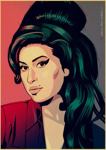 Singer Amy Winehouse Music Classic Vintage Poster painting Decorative Wall Stickers Home Posters Art home Decor