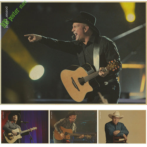 Garth Brooks US Country Music Pop Art Poster Retro Vintage Kraft Decorative Wall Sticker Home Bar Posters Decoration