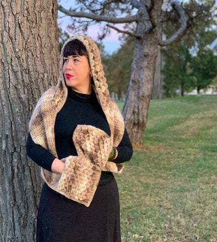 Free Crocodile Stitch Hooded Scarf crochet pattern