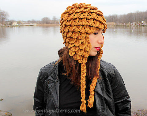 Crocodile Earflap Hat (Adult) - Bonita Patterns