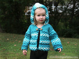 Crocodile Stitch Hooded Cardigan (baby & toddlers) - Bonita Patterns