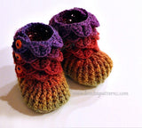 Crocodile Stitch Booties (Baby Sizes) - Bonita Patterns