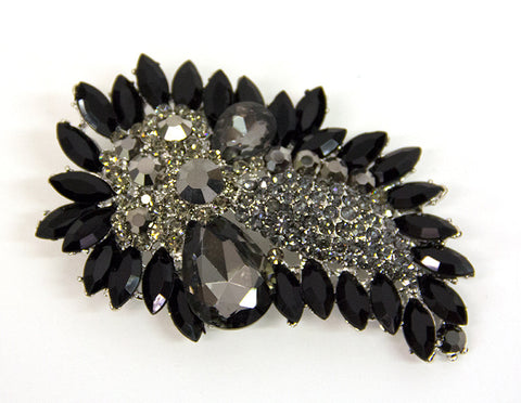 Black, Grey and Silver Brooch