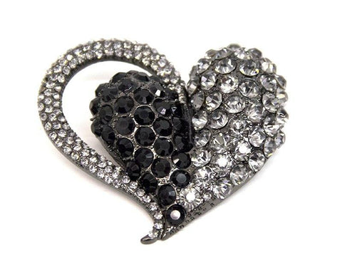 Silver Black Heart Brooch - Bonita Patterns