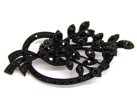 Black Stone Bouquet Spray Brooch - Bonita Patterns