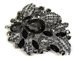 Large Black and Silver Leaves Brooch - Bonita Patterns