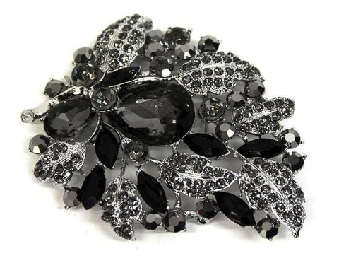 Large Black and Silver Leaves Brooch