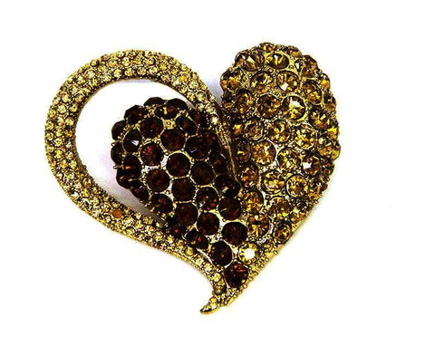 Large Amber Heart Brooch