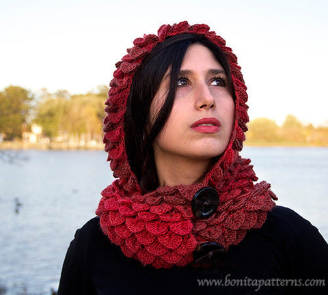 Crocodile Stitch Hooded Cowl Crochet Pattern Bonita Patterns