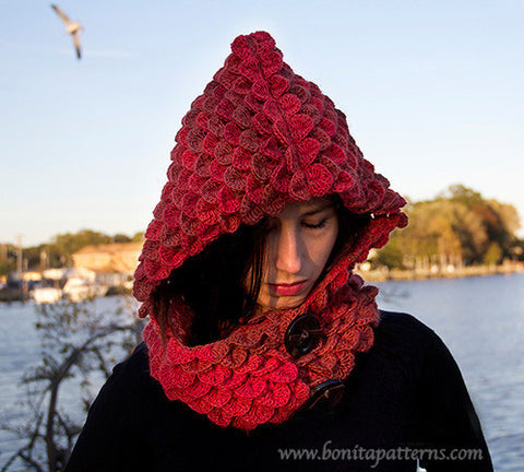 Crocodile Stitch Hooded Cowl Crochet Pattern Bonita Patterns Gorgeous Hooded Cowl Pattern