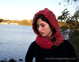 Crocodile Stitch Hooded Cowl