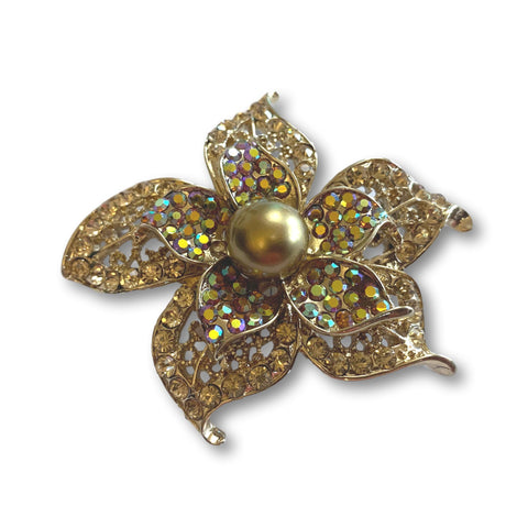 Amber Pearl Flower Brooch - Bonita Patterns