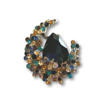 Multicolor Gem Moon Brooch