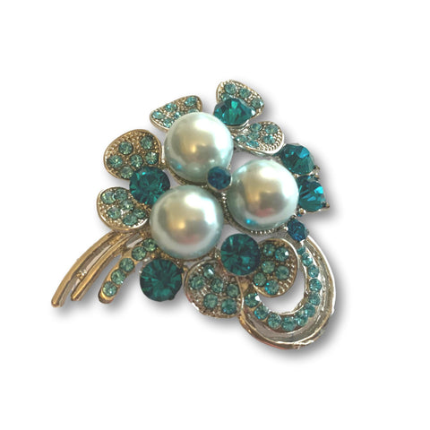 Aqua Pearl Brooch - Bonita Patterns