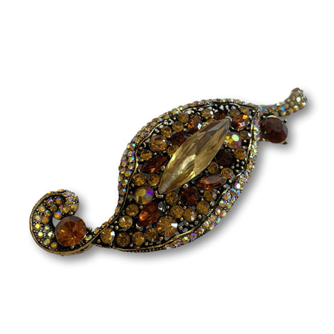 Topaz Leaf Crystal Brooch - Bonita Patterns