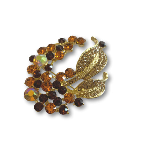 Amber Mini Leaves Brooch