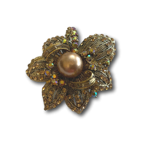 Antique Gold Rose Brooch - Bonita Patterns