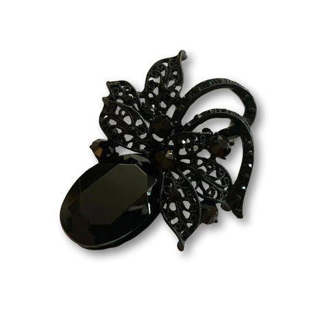 Black Crystal Gem Brooch