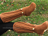 Knit- Look Braid Stitch Long Boots (Adult Sizes) - Bonita Patterns